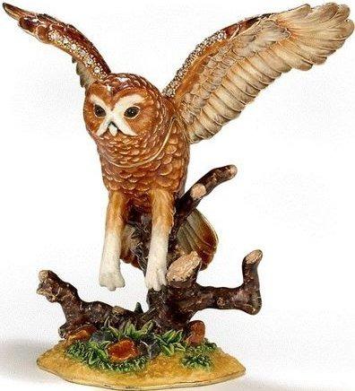 Kubla Crafts Bejeweled Enamel KUB 3-3319 Flying Barn Owl Box