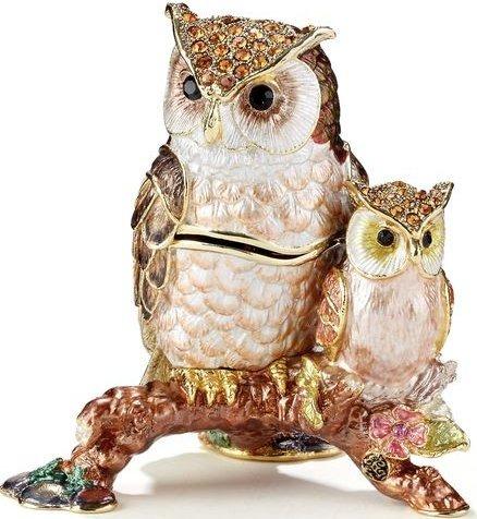 Kubla Crafts Bejeweled Enamel KUB 3-3399 Owl and Baby Box