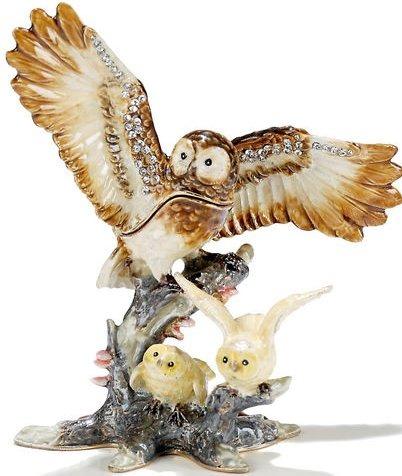 Kubla Crafts Bejeweled Enamel KUB 3-3981 Mother and Babies Owl Box