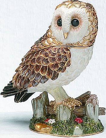 Kubla Crafts Bejeweled Enamel KUB 3-4057 Barn Owl Box