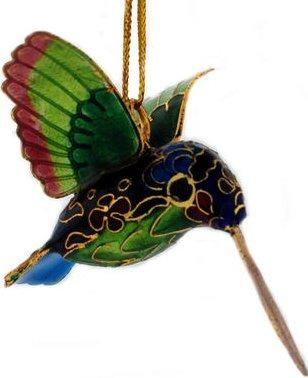 Kubla Crafts Cloisonne KUB 3-4867 Cloisonne Mini Hummingbird Ornament