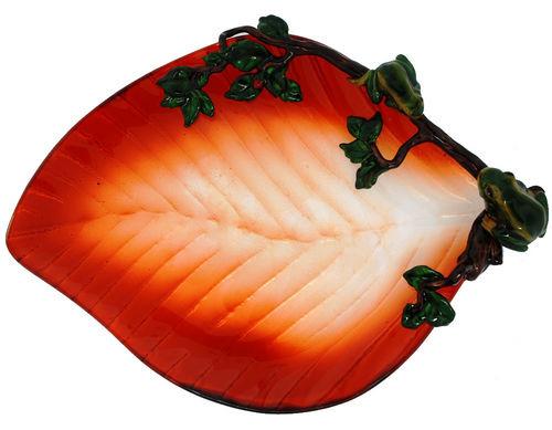 Kubla Crafts Bejeweled Enamel KUB 3009 Frog Large Glass Tray