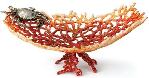 Kubla Crafts Bejeweled Enamel KUB 3011 Coral Crab Tray