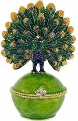 Kubla Crafts Bejeweled Enamel KUB 3054 Peacock Box