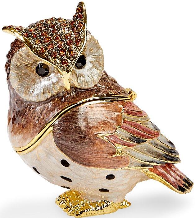 Kubla Crafts Bejeweled Enamel KUB 3065 Large Owl Box