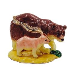 Kubla Crafts Bejeweled Enamel KUB 3071 Bear and Cub Box