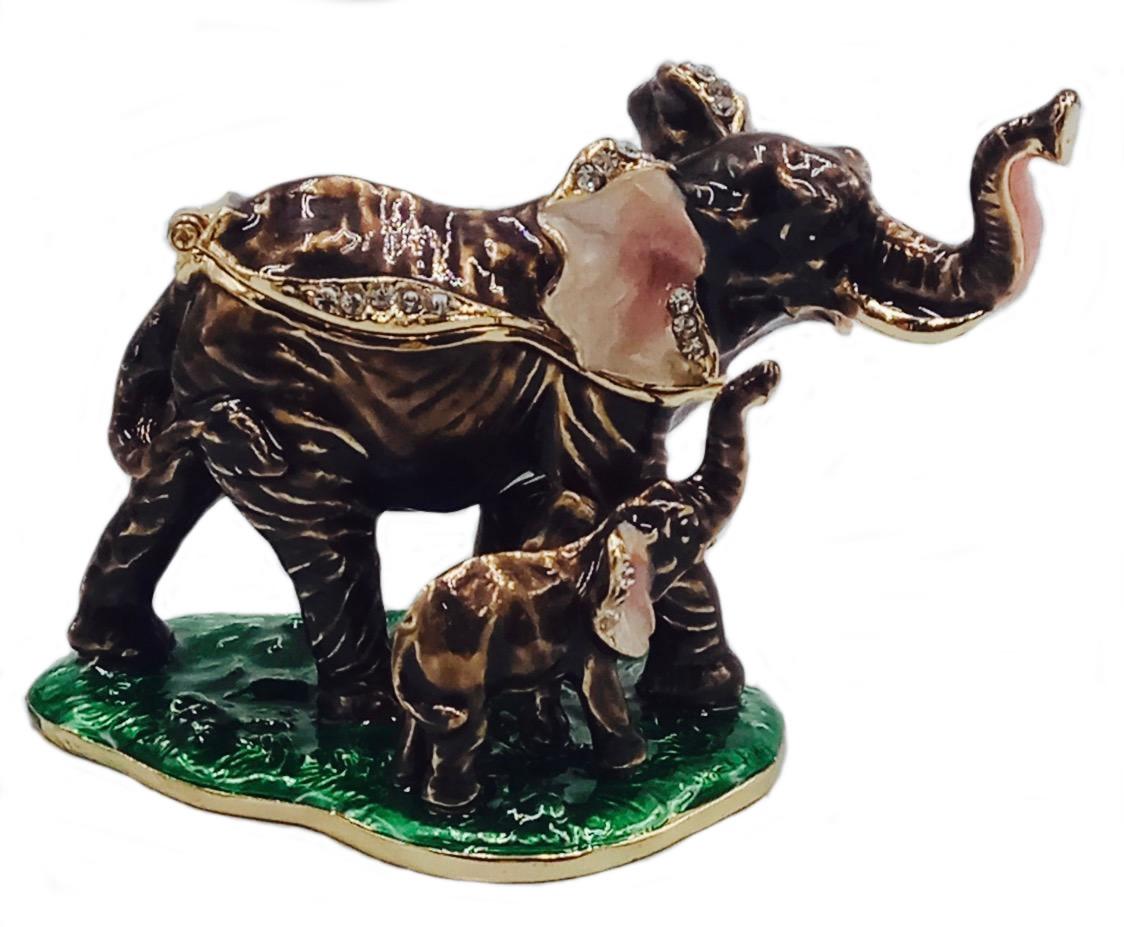 Kubla Crafts Bejeweled Enamel KUB 3076 Elephant and Baby Box