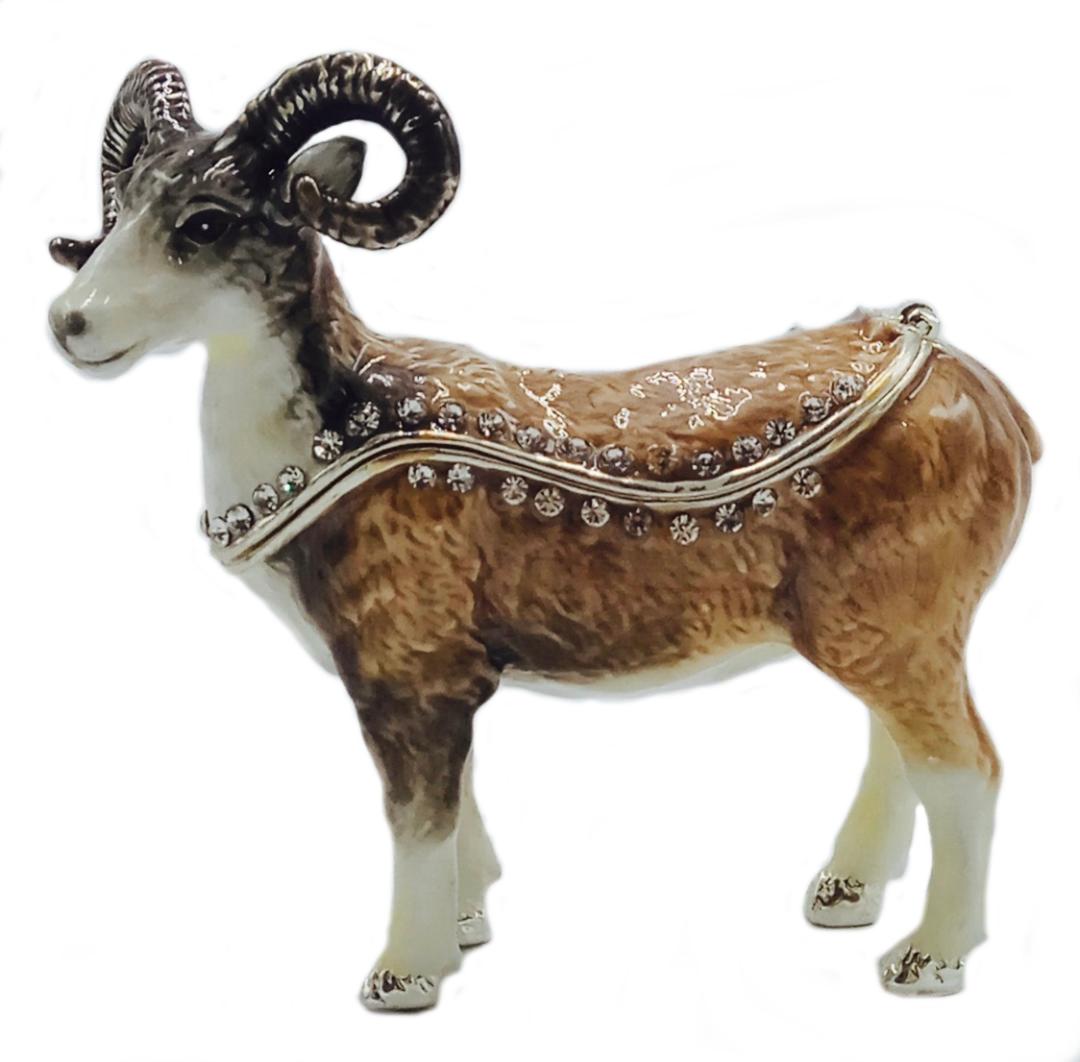 Kubla Crafts Bejeweled Enamel KUB 3083 Goat Box