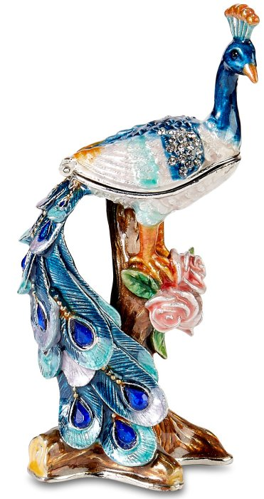 Kubla Crafts Bejeweled Enamel KUB 3087 Peacock Box