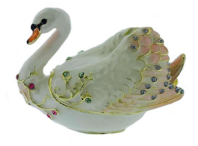Kubla Crafts Bejeweled Enamel KUB 3089 Swan Box