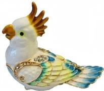 Kubla Crafts Bejeweled Enamel KUB 3109 Cockatoo Box