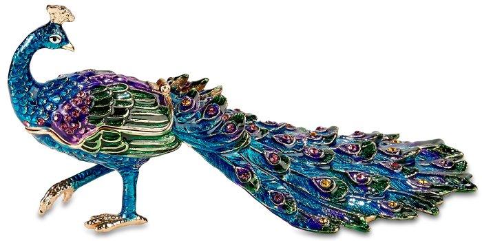 Kubla Crafts Bejeweled Enamel KUB 3116 Peacock Box