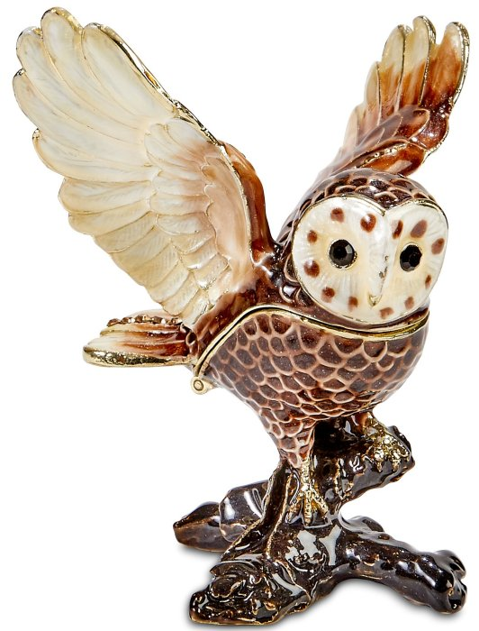 Kubla Crafts Bejeweled Enamel KUB 3122 Flying Owl Box
