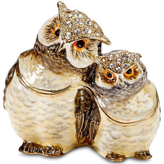 Kubla Crafts Bejeweled Enamel KUB 3124 Owl and Baby Box