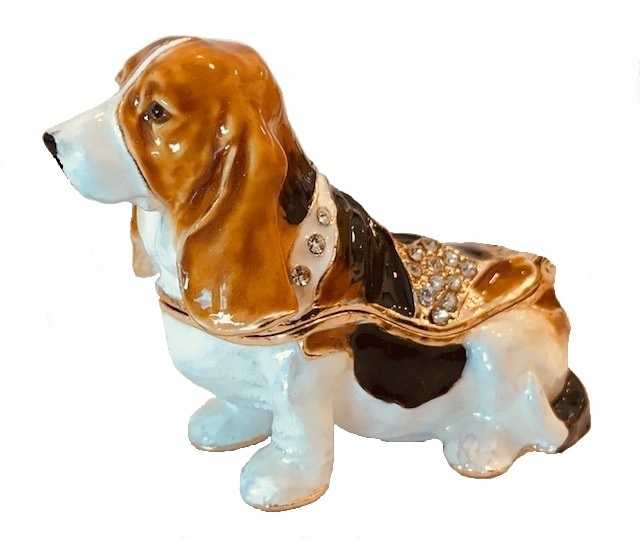 Kubla Crafts Bejeweled Enamel KUB 3125 Basset Hound Mini Box