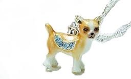 Kubla Crafts Bejeweled Enamel KUB 3126N Chihuahua Necklace