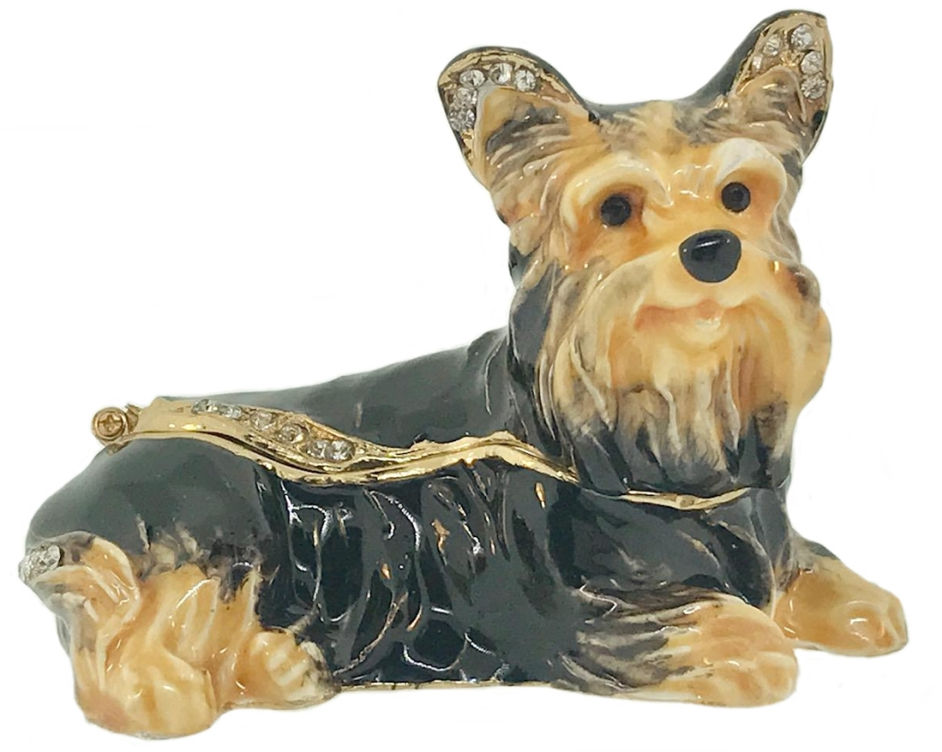 Kubla Crafts Bejeweled Enamel KUB 3127 Yorkie Yorkshire Terrier Box