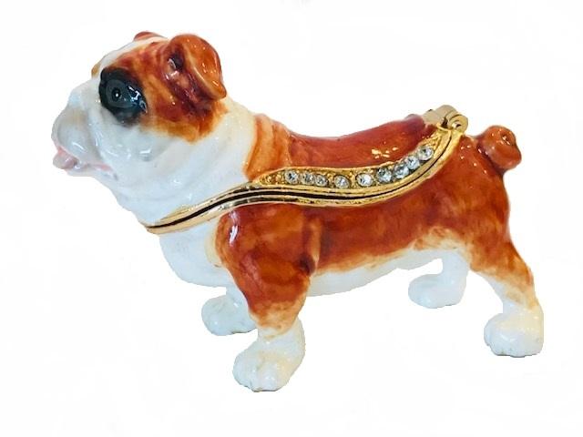 Kubla Crafts Bejeweled Enamel KUB 3129 Bulldog Mini Box