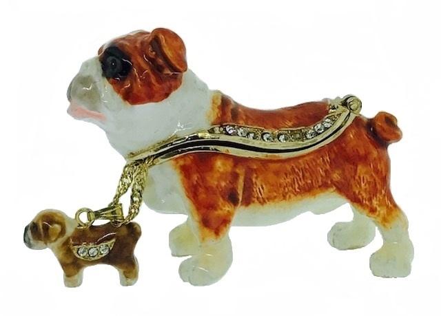 Kubla Crafts Bejeweled Enamel KUB 3129BN Bulldog Box and Necklace