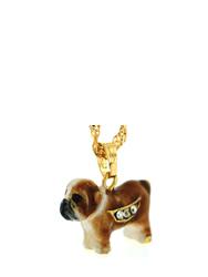 Kubla Crafts Bejeweled Enamel KUB 3129N Bulldog Necklace