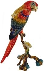 Kubla Crafts Bejeweled Enamel KUB 3130 Macaw Parrot Box