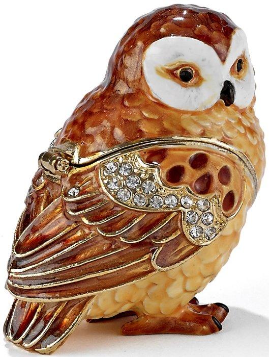 Kubla Crafts Bejeweled Enamel KUB 3162 Owl Box