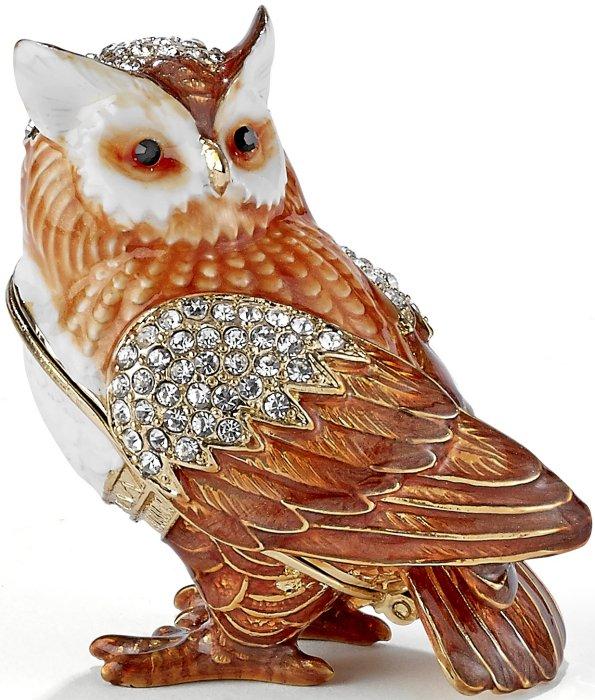 Kubla Crafts Bejeweled Enamel KUB 3163 Owl Box