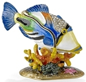 Kubla Crafts Bejeweled Enamel KUB 3171 Humu Humu Fish Box