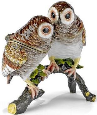 Kubla Crafts Bejeweled Enamel KUB 3173 Large Owls Box