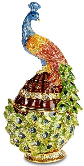 Kubla Crafts Bejeweled Enamel KUB 3174 Peacock Box