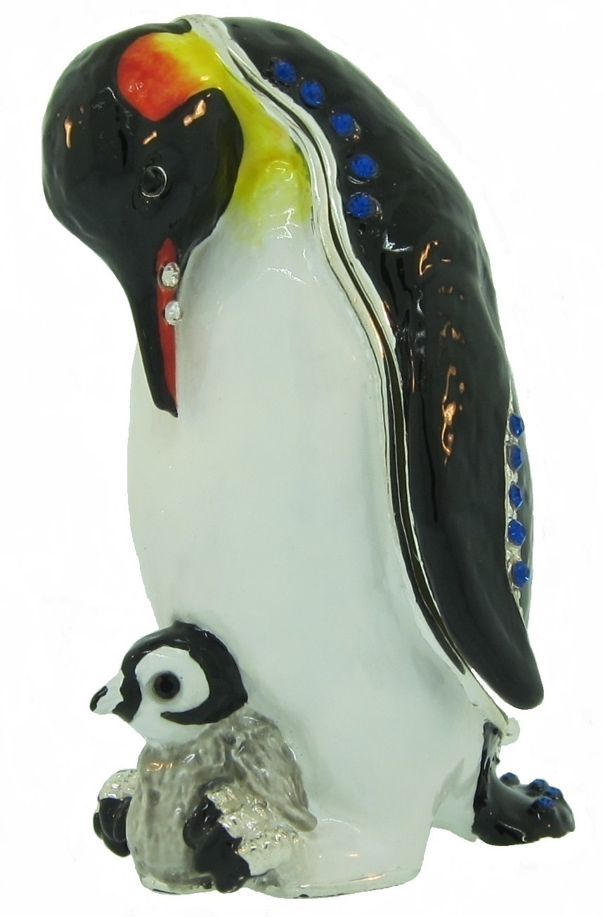 Kubla Crafts Bejeweled Enamel KUB 3188 Penguin and Baby Box