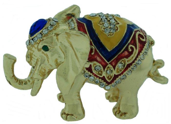 Kubla Crafts Bejeweled Enamel KUB 3206 Gold Elephant Box