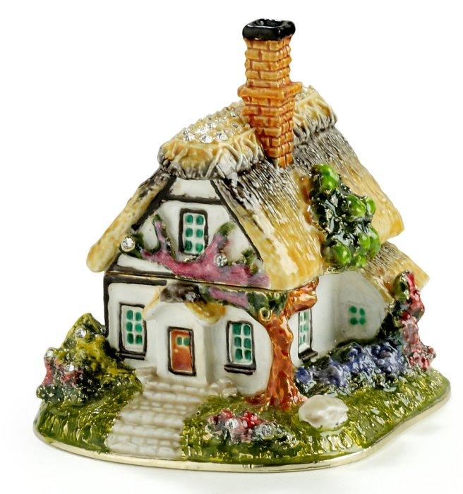 Kubla Crafts Bejeweled Enamel KUB 3208 Cottage Box