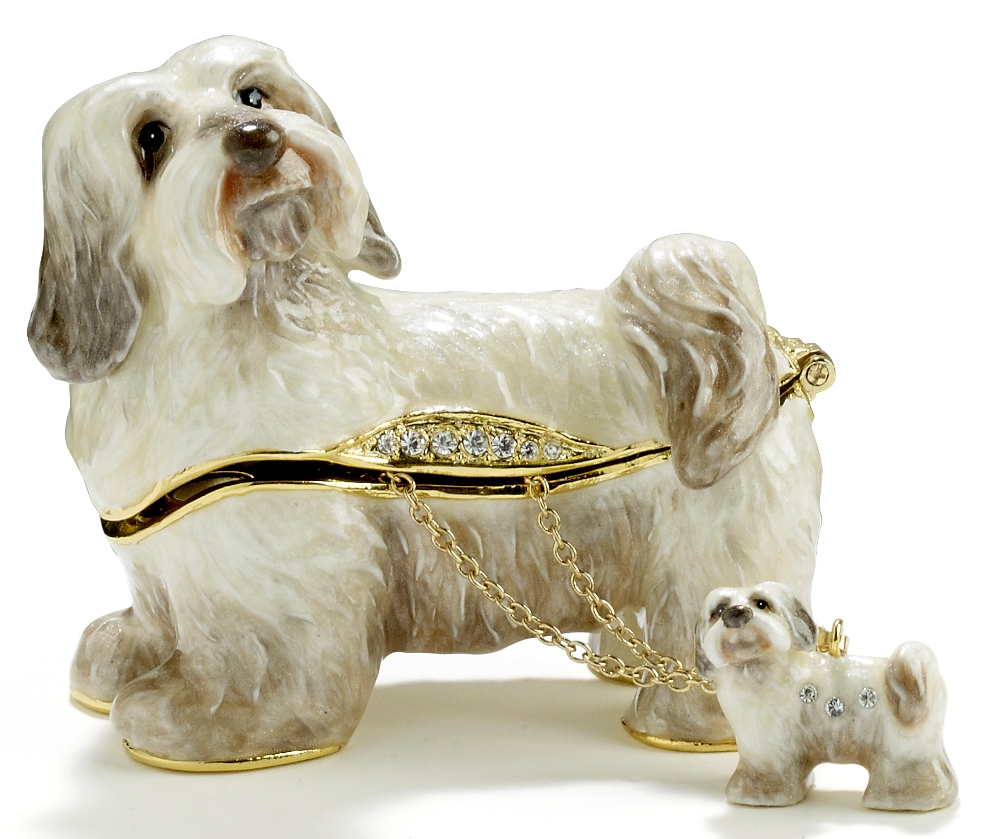 Kubla Crafts Bejeweled Enamel KUB 3212HN Havanese Dog Box with Necklace