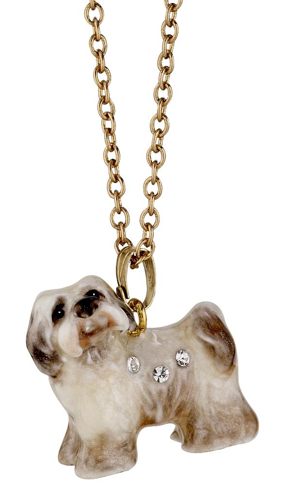 Kubla Crafts Bejeweled Enamel KUB 3212N Havanese Dog Necklace