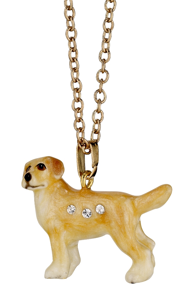 Kubla Crafts Bejeweled Enamel KUB 3213N Labrador Necklace