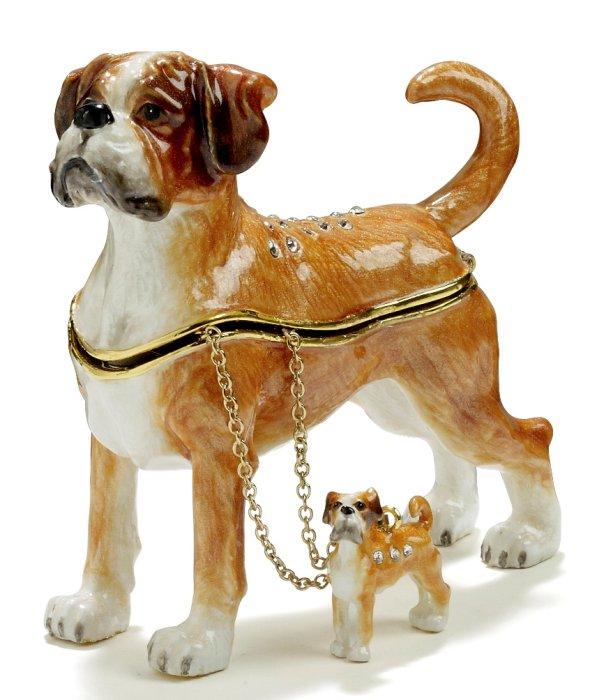 Kubla Crafts Bejeweled Enamel KUB 3214BN Boxer Box with Necklace