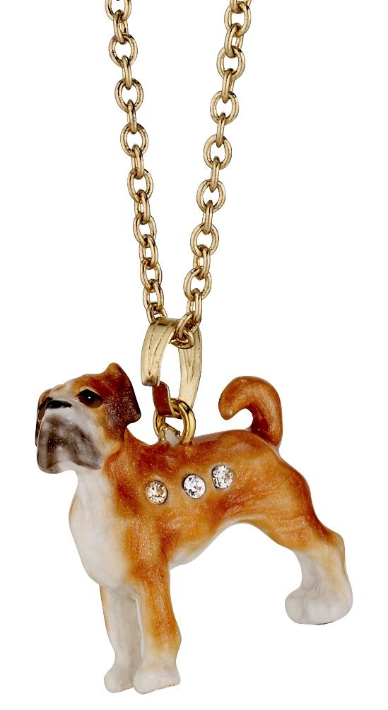 Kubla Crafts Bejeweled Enamel KUB 3214N Boxer Necklace