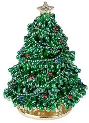Kubla Crafts Bejeweled Enamel KUB 3226 Christmas Tree Box with hinges
