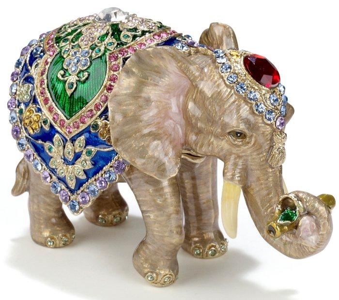 Kubla Crafts Bejeweled Enamel KUB 3231 Elephant Box