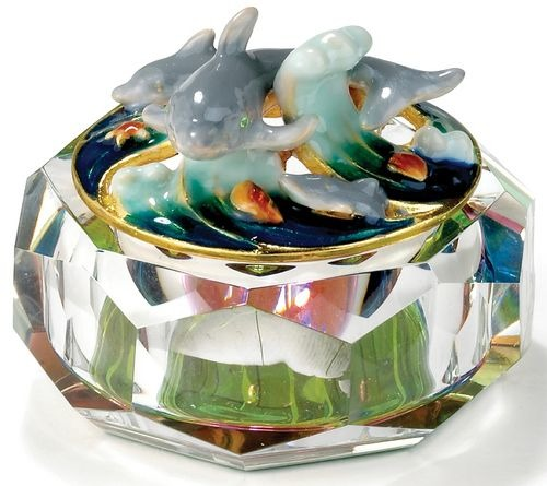 Kubla Crafts Bejeweled Enamel KUB 3252 Enamel Top Glass Dolphin