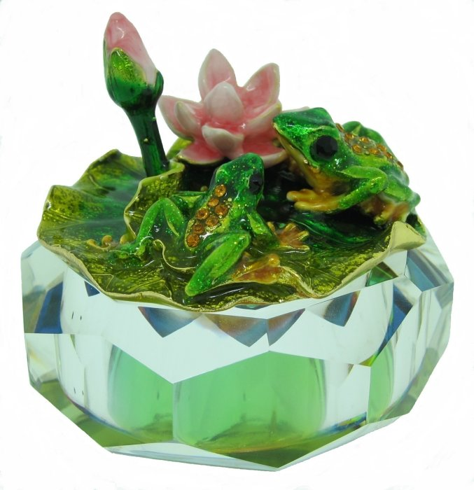 Kubla Crafts Bejeweled Enamel KUB 3255 Jewel Enamel Glass Box Frog