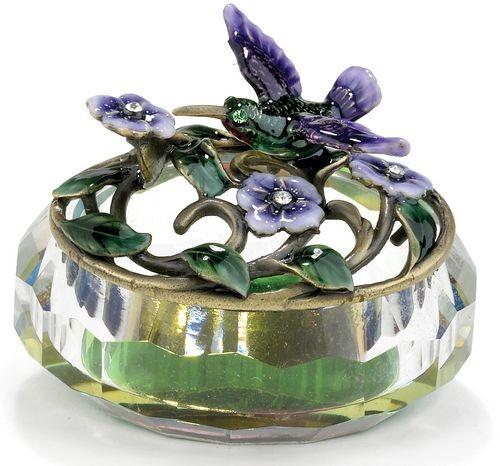 Kubla Crafts Bejeweled Enamel KUB 3260 Hummingbird Glass Box