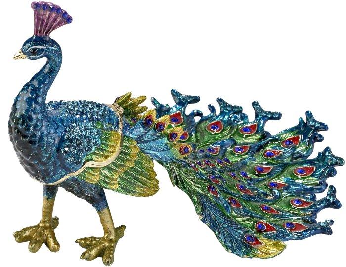 Kubla Crafts Bejeweled Enamel KUB 3280 Peacock Large Box