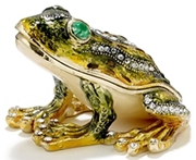 Kubla Crafts Bejeweled Enamel KUB 3292 Green Frog Box