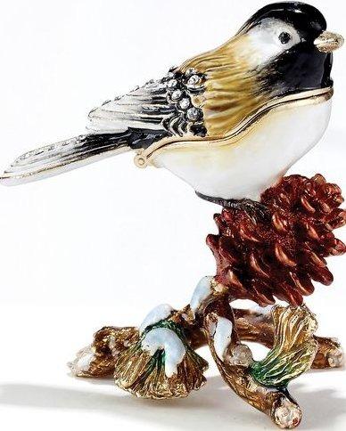 Kubla Crafts Bejeweled Enamel KUB 33-3310 Chickadee Box