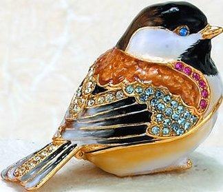 Kubla Crafts Bejeweled Enamel KUB 33-3810 Chickadee Box