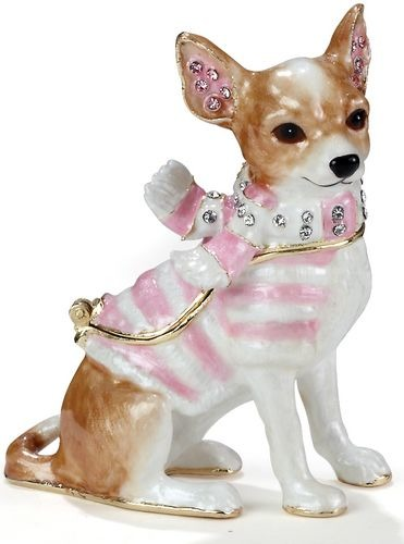 Kubla Crafts Bejeweled Enamel KUB 3306 Chihuahua Box