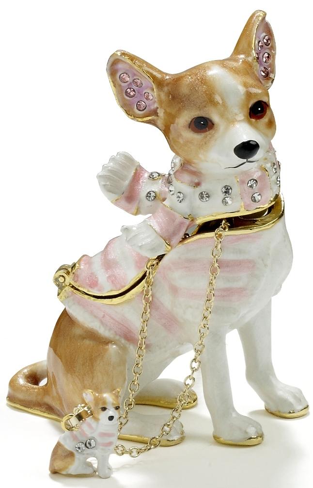 Kubla Crafts Bejeweled Enamel KUB 3306CN Chihuahua Box with Necklace
