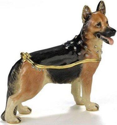 Kubla Crafts Bejeweled Enamel KUB 3315 German Shepherd Box
